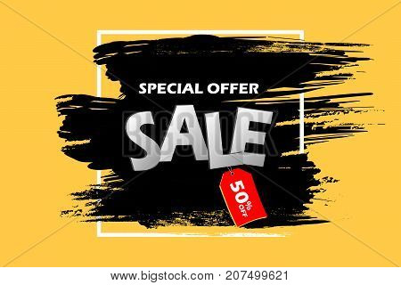 Special Offer Sale Banner In Frame. Black Grunge Brush Stroke On A Yellow Background With Red Tag Wi