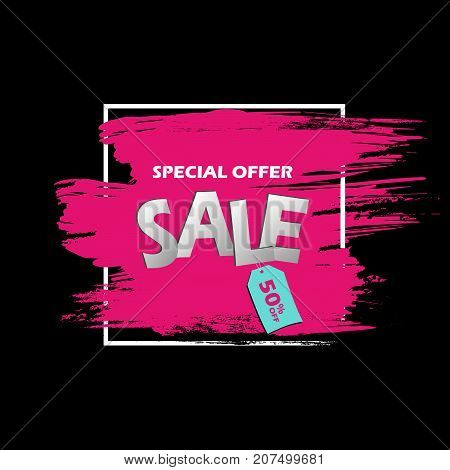 Special Offer Sale Banner In Frame. Pink Grunge Brush Stroke On A Black Background With Blue Tag Wit