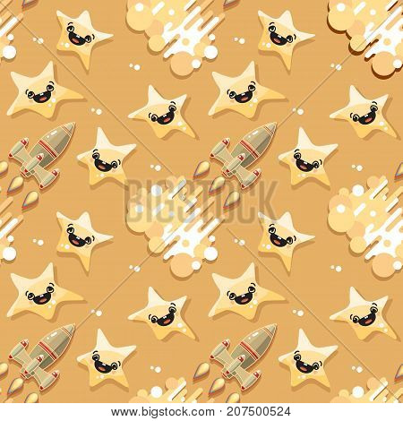 Cute Cartoon Space rocket and star on yellow background. Vector celestial seamless pattern.