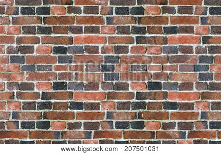 part of old brick wall consisting of bricks of different shades