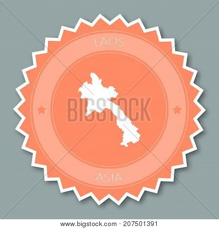 Lao People's Democratic Republic Badge Flat Design. Round Flat Style Sticker Of Trendy Colors With C