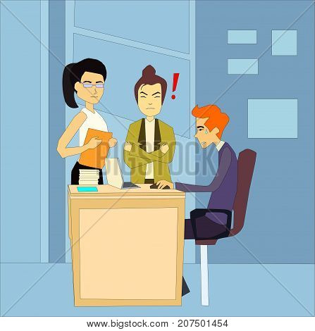 Angry unhappy boss standing next to the table of her afraid employee in the office. Give notice, to fire, to dismissed, get sacked, bossing, mobbing and bullying concepts illustration vector.