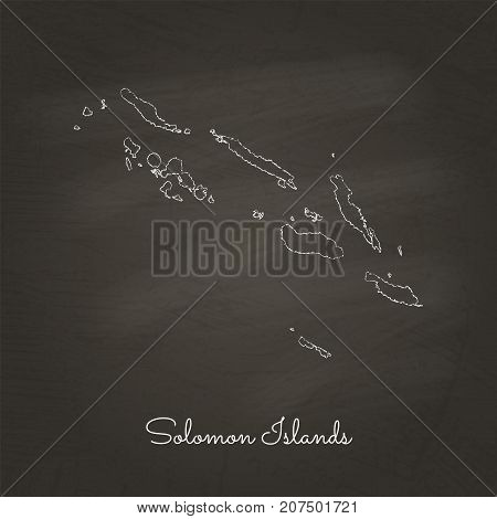 Solomon Islands Region Map: Hand Drawn With White Chalk On School Blackboard Texture. Detailed Map O
