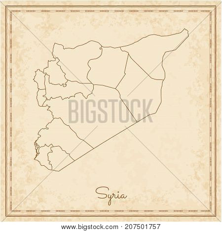 Syria Region Map: Stilyzed Old Pirate Parchment Imitation. Detailed Map Of Syria Regions. Vector Ill
