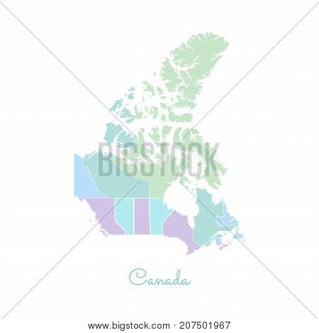 Canada Region Map: Colorful With White Outline. Detailed Map Of Canada Regions. Vector Illustration.