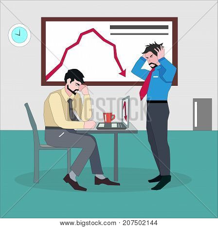 Depressed businessman with hands on the head standing next to desk of worried coworker. Low sales and revenue concept illustration vector.