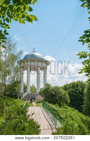 Old pavilion in a picturesque location in the city Sednev.Ukraina