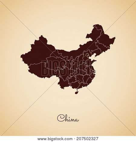 China Region Map: Retro Style Brown Outline On Old Paper Background. Detailed Map Of China Regions.