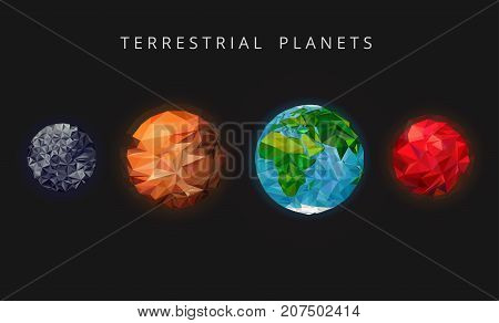 Illustration terrestrial planets. The rocky planets of the solar system. Mercury, Venus, Earth, and Mars