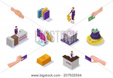 Banking and finance icons set with isometric people office reception desk cash money coins banknotes bank building 3d vector illustration