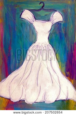 Acrylic Painting of White Dress on Blue Green Background