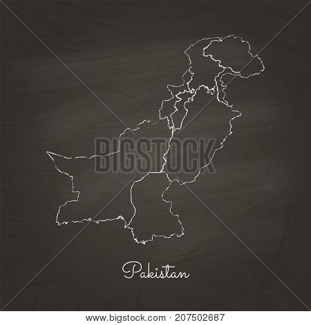 Pakistan Region Map: Hand Drawn With White Chalk On School Blackboard Texture. Detailed Map Of Pakis