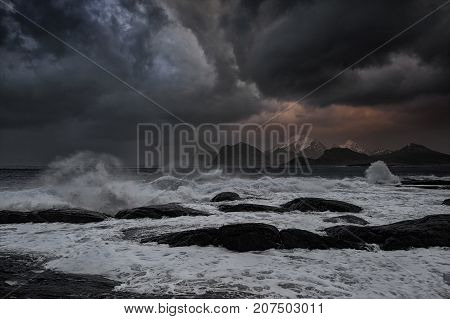 Stormy sea and big Waves. This one is taken at Lille Sandnes in Flakstad island during stormy weather that hit the land