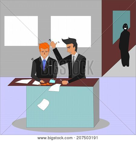 Angry boss screaming at his employee and hitting at his desk. Mobbing, stress, overwork concept illustration vector.