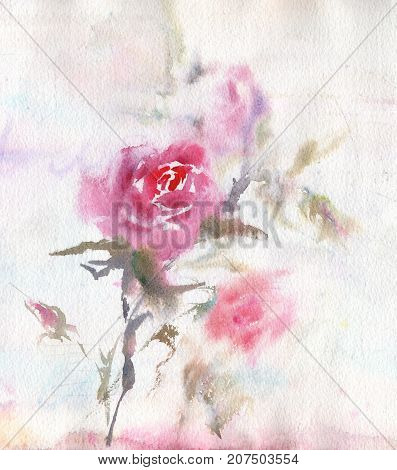 Flowers, leaves of handmade seamless pattern wild roses. Briar, watercolor painting for decoration