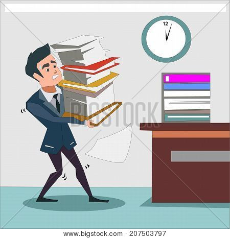 Unhappy businessman carries pile of heavy documents, folders and papers. Paperwork, burden, stress, overwork, reports, finance, business, accounting concept illustration vector.