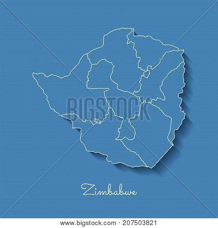 Zimbabwe Region Map: Blue With White Outline And Shadow On Blue Background. Detailed Map Of Zimbabwe