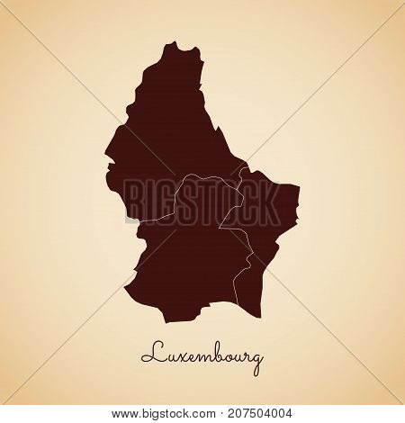 Luxembourg Region Map: Retro Style Brown Outline On Old Paper Background. Detailed Map Of Luxembourg