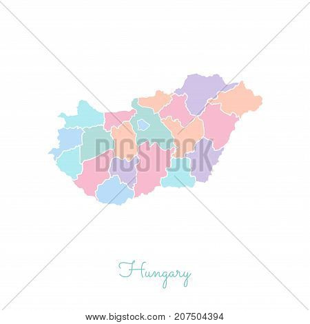 Hungary Region Map: Colorful With White Outline. Detailed Map Of Hungary Regions. Vector Illustratio