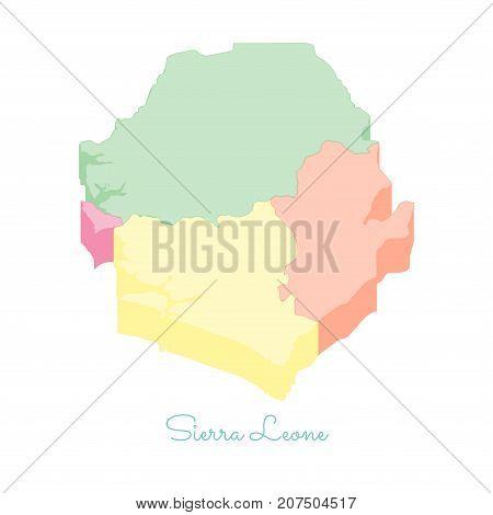Sierra Leone Region Map: Colorful Isometric Top View. Detailed Map Of Sierra Leone Regions. Vector I