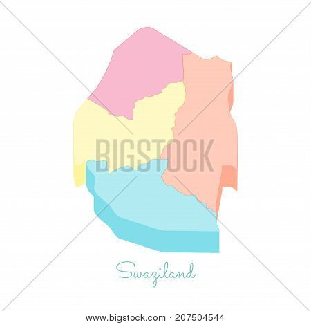 Swaziland Region Map: Colorful Isometric Top View. Detailed Map Of Swaziland Regions. Vector Illustr