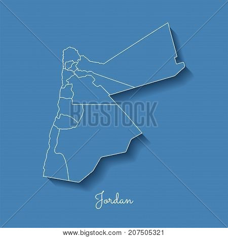 Jordan Region Map: Blue With White Outline And Shadow On Blue Background. Detailed Map Of Jordan Reg