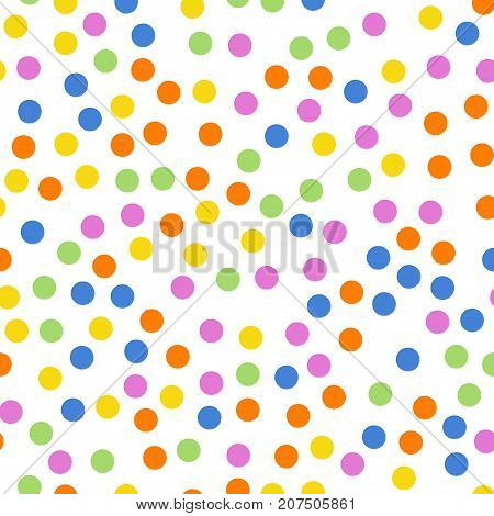 Colorful Polka Dots Seamless Pattern On White 2 Background. Comely Classic Colorful Polka Dots Texti