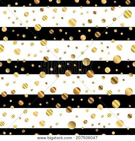 Golden Dots Seamless Pattern On Black And White Striped Background. Fetching Gradient Golden Dots En