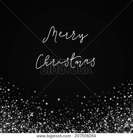 Merry Christmas Greeting Card. Amazing Falling Stars Background. Amazing Falling Stars On Black Back