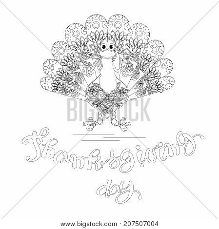 Doodle style sketch of turkey lettering Thanksgiving day, thin black line on white stock vector illustration