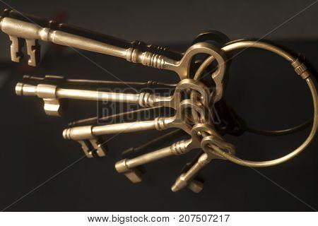Vintage Golden Keys On A Keyring