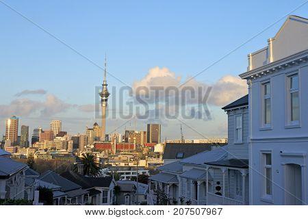 Auckland CBD skyline as seen east from Ponsonby an inner-city suburb of Auckland city New Zealand