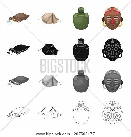 Tent, tourism, housing, and other  icon in cartoon style.Safari, Africa, container icons in set collection