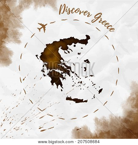 Greece Watercolor Map In Sepia Colors. Discover Greece Poster With Airplane Trace And Handpainted Wa