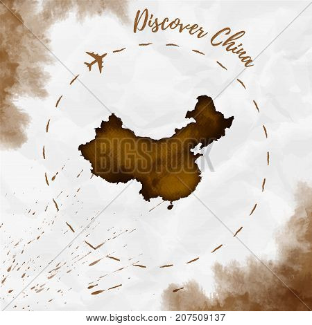 China Watercolor Map In Sepia Colors. Discover China Poster With Airplane Trace And Handpainted Wate