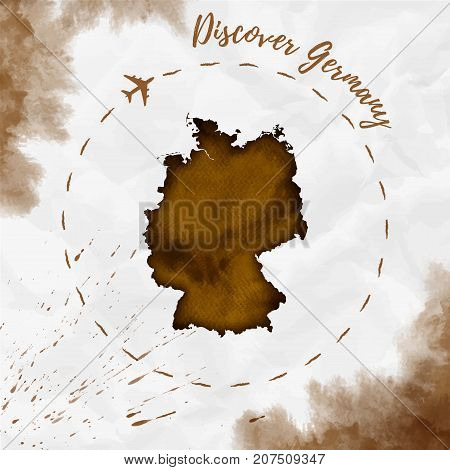 Germany Watercolor Map In Sepia Colors. Discover Germany Poster With Airplane Trace And Handpainted