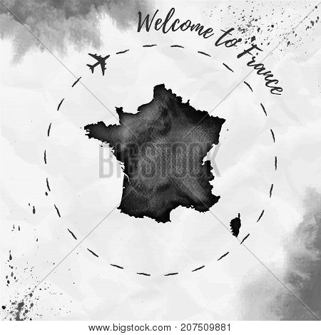 France Watercolor Map In Black Colors. Welcome To France Poster With Airplane Trace And Handpainted