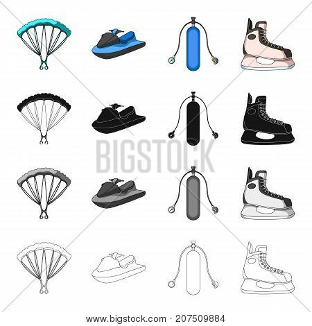 Parachute extreme sports, water scooter, equipment for diving, hockey skate. Extreme sport set collection icons in cartoon black monochrome outline style vector symbol stock Isometric illustration .
