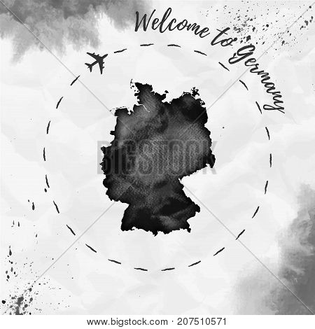Germany Watercolor Map In Black Colors. Welcome To Germany Poster With Airplane Trace And Handpainte