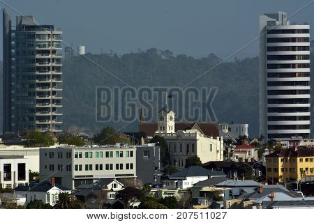 Aerial view of Ponsonby city skyline in Auckland New Zealand.It's a predominantly upper-middle class residential suburb known in Auckland for its dining and shopping establishments.