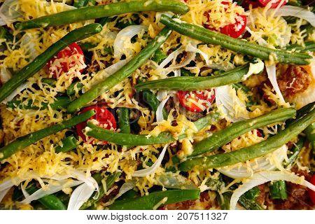 Yummy green bean casserole, closeup