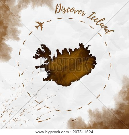 Iceland Watercolor Map In Sepia Colors. Discover Iceland Poster With Airplane Trace And Handpainted