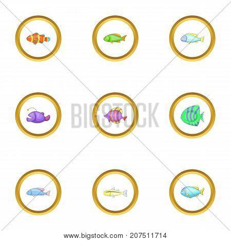 Marine fish icons set. Cartoon style set of 9 marine fish vector icons for web design
