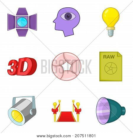 Shooting a movie icons set. Cartoon set of 9 shooting a movie vector icons for web isolated on white background