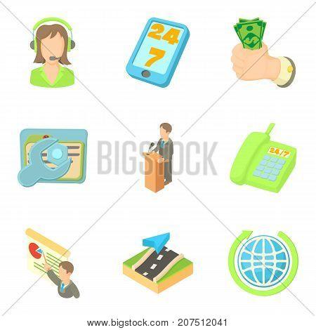Biz icons set. Cartoon set of 9 biz vector icons for web isolated on white background