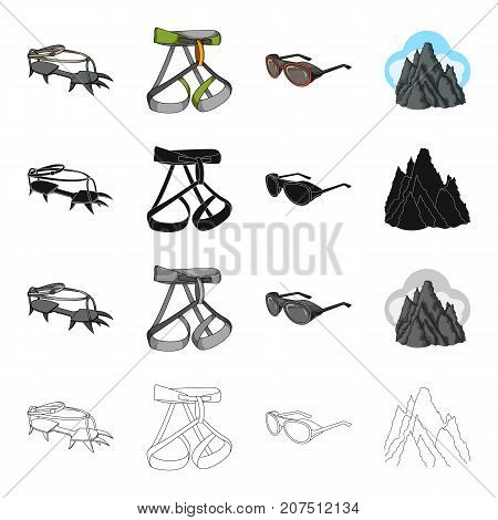 Crampon climber, safety gazebo, sunglasses, unruly top. Climbing equipment set collection icons in cartoon black monochrome outline style vector symbol stock Isometric illustration .