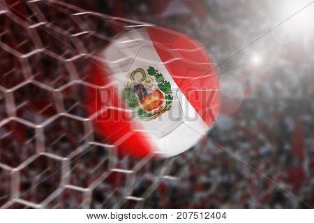 Goal of Peruvian soccer ball in net
