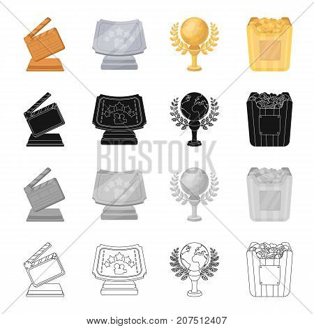 Cinematic cracker, Golden Globe Award, Silver certificate, golden box of popcorn. Different Kinds of Movie Awards set collection icons in cartoon black monochrome outline style vector symbol stock isometric illustration .