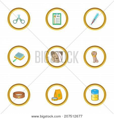 Pet veterinary icons set. Cartoon style set of 9 pet veterinary vector icons for web design