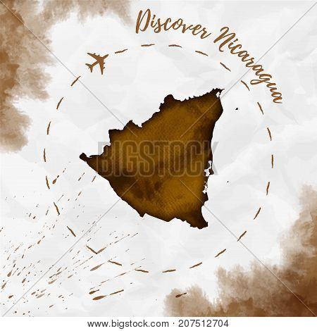 Nicaragua Watercolor Map In Sepia Colors. Discover Nicaragua Poster With Airplane Trace And Handpain